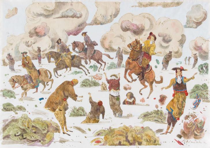 Robert Schmiedel, Treibsand, 42x60 cm, 2012, Federzeichnung und Aquarell auf Papier