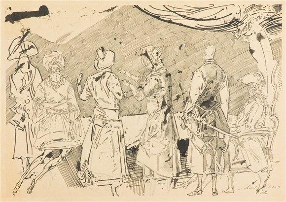 Robert Schmiedel, Unterhaltung, 21x29,5 cm, 2003, Feder und Tusche