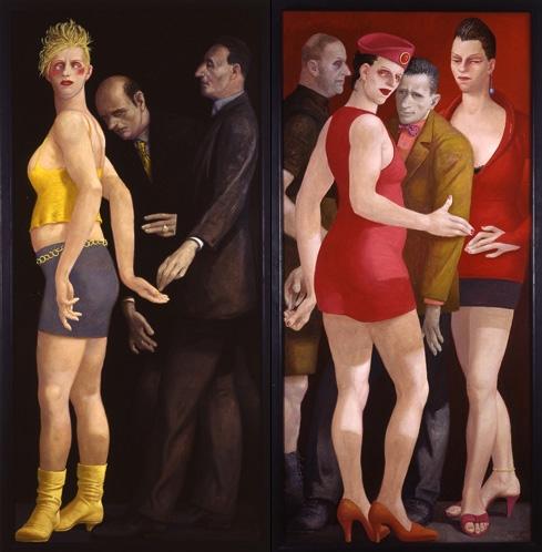 Volker Stelzmann, Schwarz Rot Gold, 170x80, 170x80 cm, 2005, Mischtechnik auf Nessel auf MdF