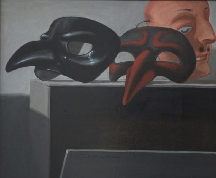 Volker Stelzmann, Masken auf Kiste, 50x60 cm, 2012
