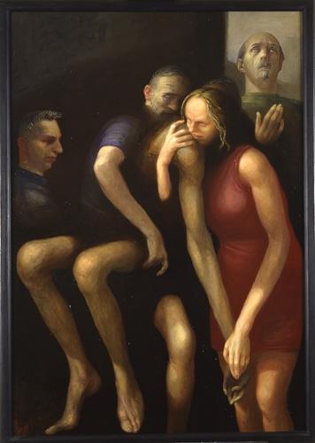 Volker Stelzmann, Mit Aufblickendem, 130x90 cm, 1999