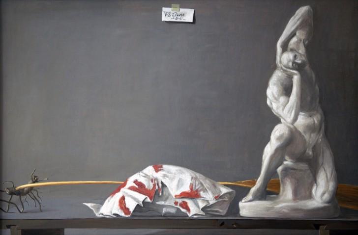 Volker Stelzmann, Stilleben mit Reisbrett, 60x90 cm, 2007