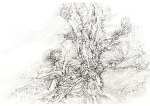 Barbara Wege, o. T., 65x50 cm, 2009, Tuschezeichnung auf Aquarellkarton