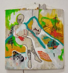 Marta Vovk, Berglandschaft, 2013, 60 x 60 cm, Acryl, Filzstift und Oelkreide auf Holz