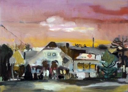 Lutz Bleidorn, Gasthaus am See, 30x40 cm, 2013, Öl auf Leinwand