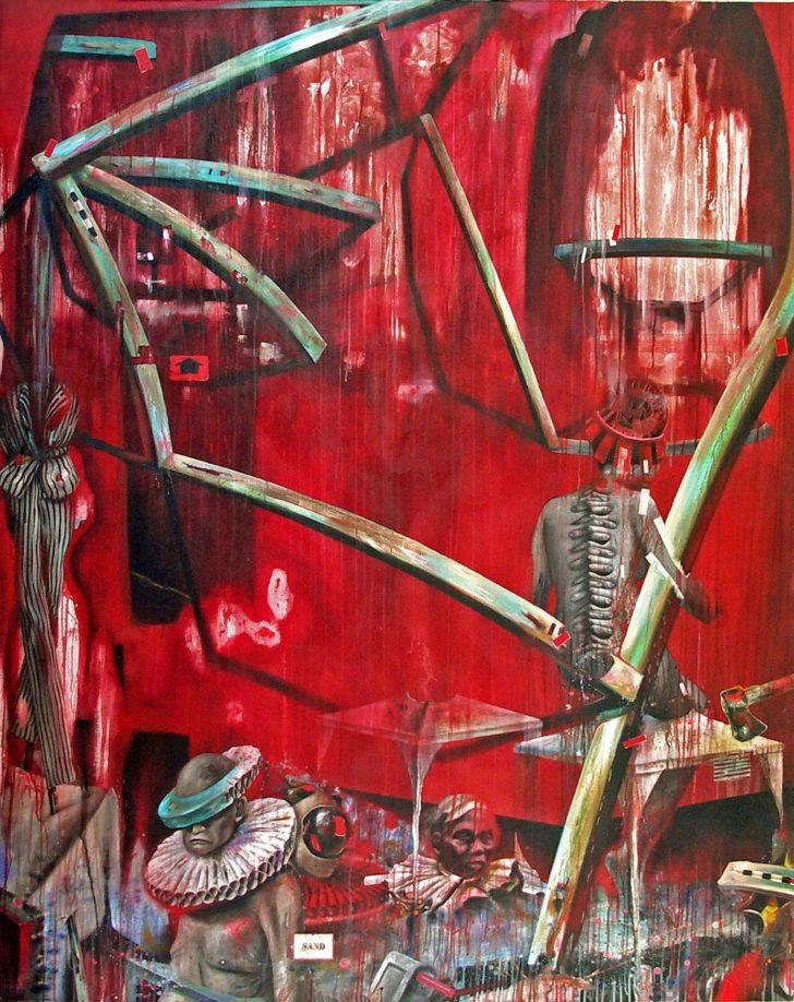 Robert Matthes, Fällung des Pächters, 210x170 cm, 2009, Öl auf Leinwand