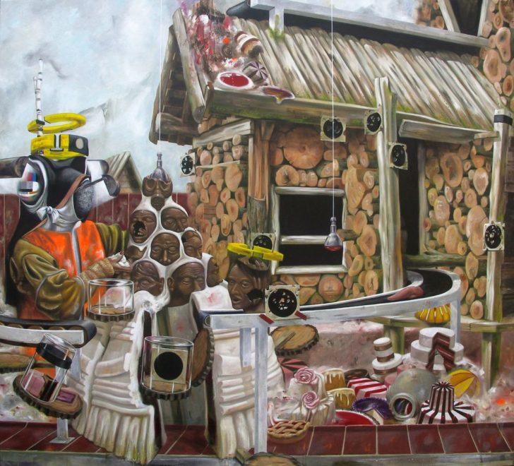 Robert Matthes, Lügner, 180x200 cm, 2011, Öl auf Leinwand