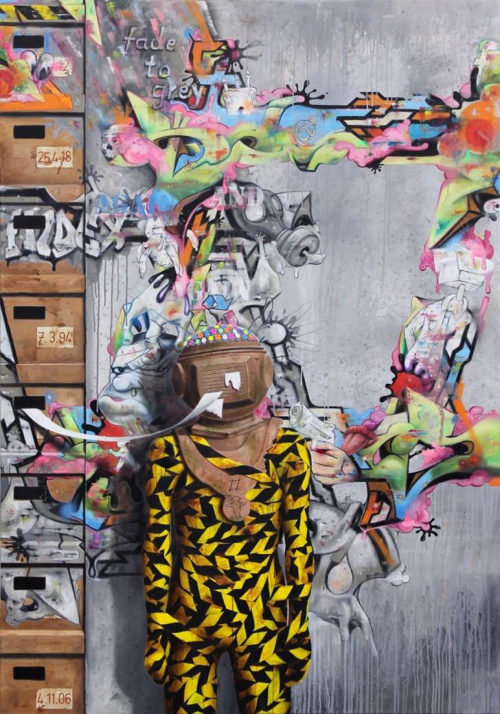 Robert Matthes, Tagebücher, 200x140 cm, 2013, Öl auf Leinwand
