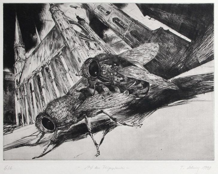 Thomas Löhning, Auf dem Fliegenplaneten, 35,3x25,9 cm, 1998, Radierung