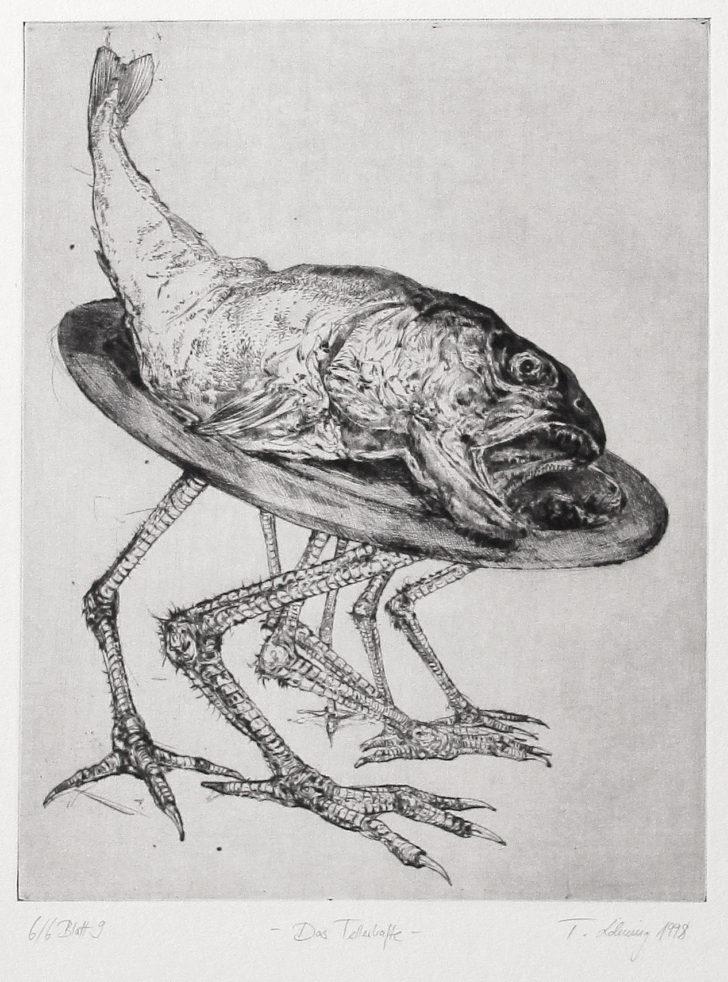 Thomas Löhning, Das Tellerhafte, 19,9x25 cm, 1998, Radierung