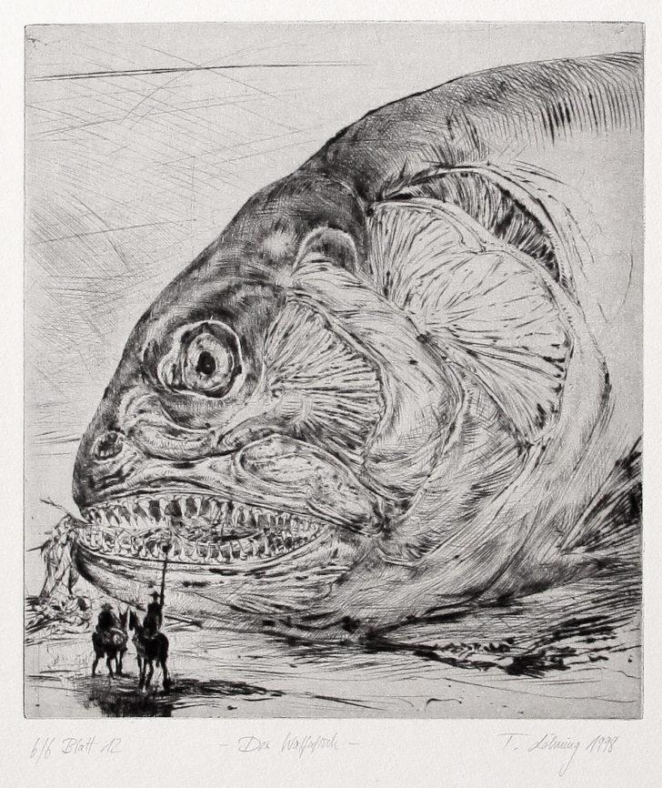 Thomas Löhning, Der Walfafisch, 19x21,2 cm, 1998, Radierung