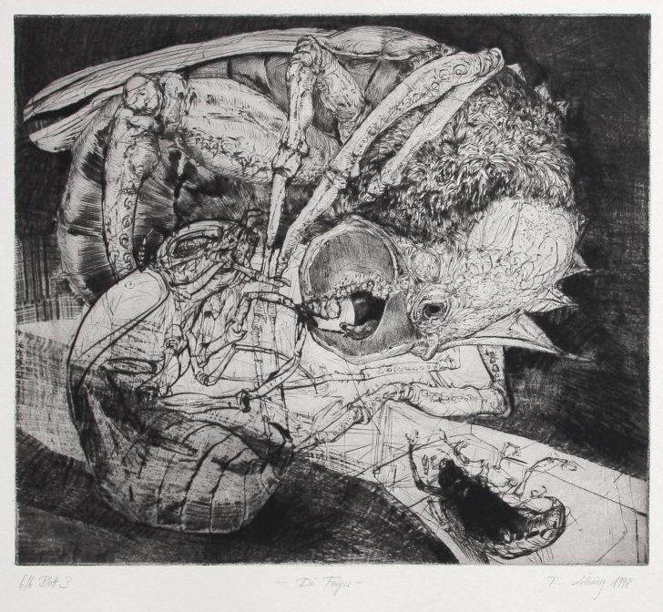Thomas Löhning, Die Fingur, 31,2x27,6 cm, 1998, Radierung