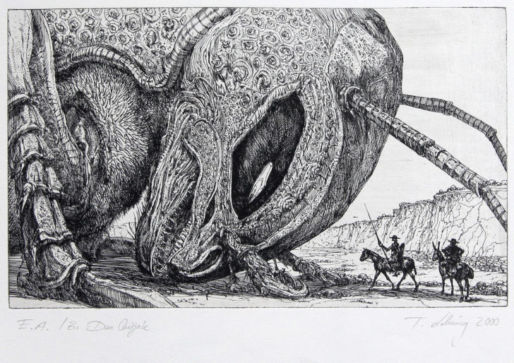 Thomas Löhning, Don Quijote, 23,9x14,5 cm, 2000, Radierung