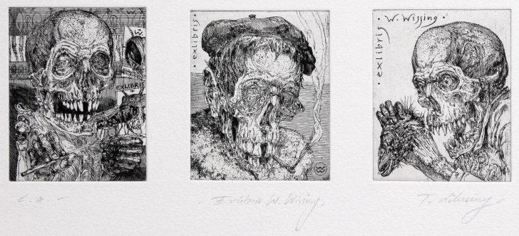 Thomas Löhning, Drei Schädel. Exlibris, je 5,7x7,6 cm, Radierung