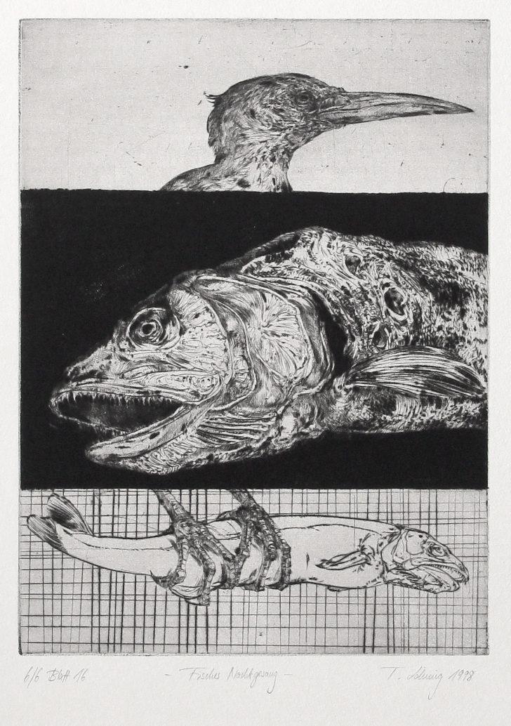 Thomas Löhning, Fisches Nachtgesang, 19,2x26 cm, 1998, Radierung