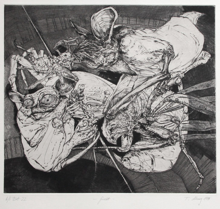 Thomas Löhning, Gruselett, 33,3x29,3 cm, 1998, Radierung