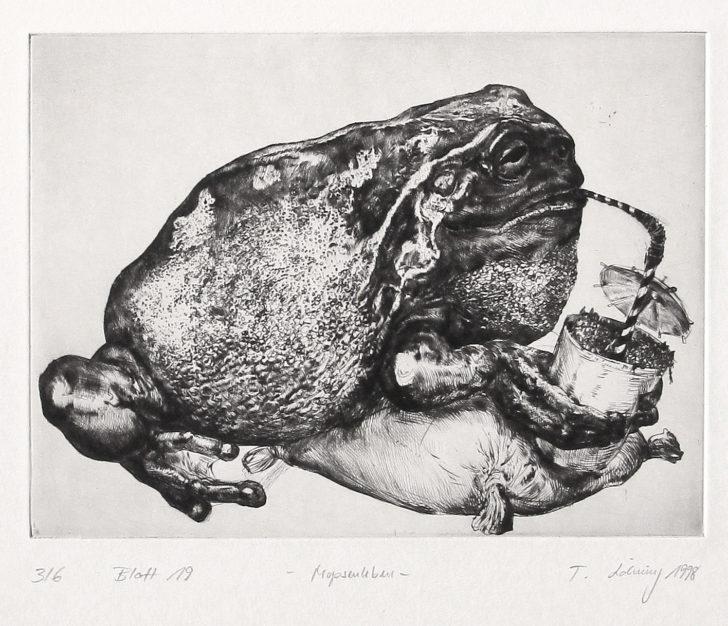 Thomas Löhning, Mopsenleben, 21,4x15,9 cm, 1998, Radierung