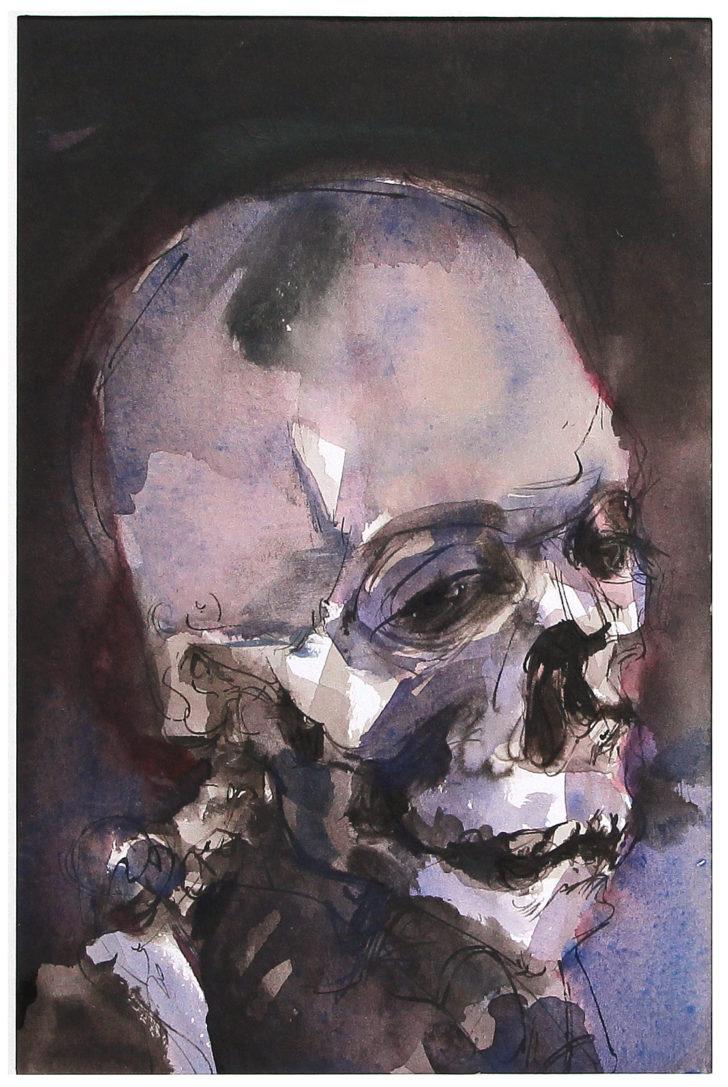 Thomas Löhning, Schädel 1, 13,8x20,6 cm, Tusche und Aquarell