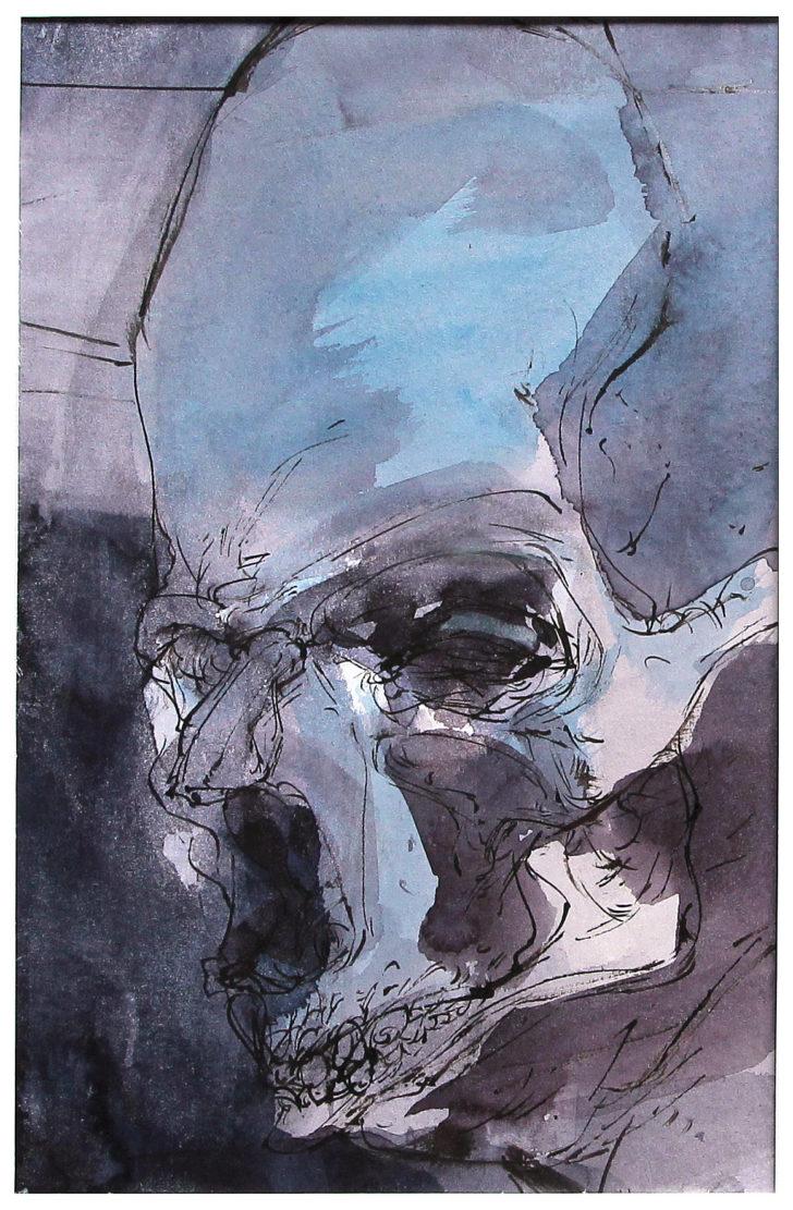 Thomas Löhning, Schädel 10, 15x23,2 cm, Tusche und Aquarell