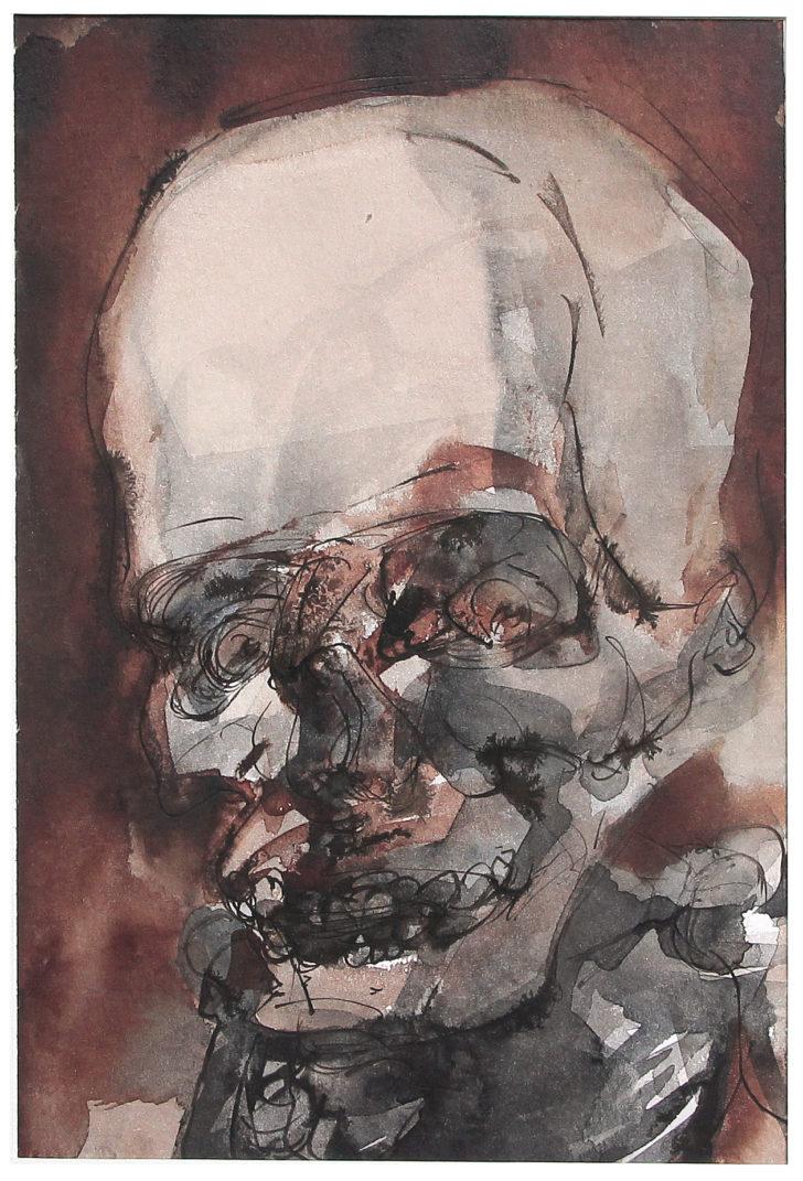 Thomas Löhning, Schädel 2, 15,4x22,8 cm, Tusche und Aquarell