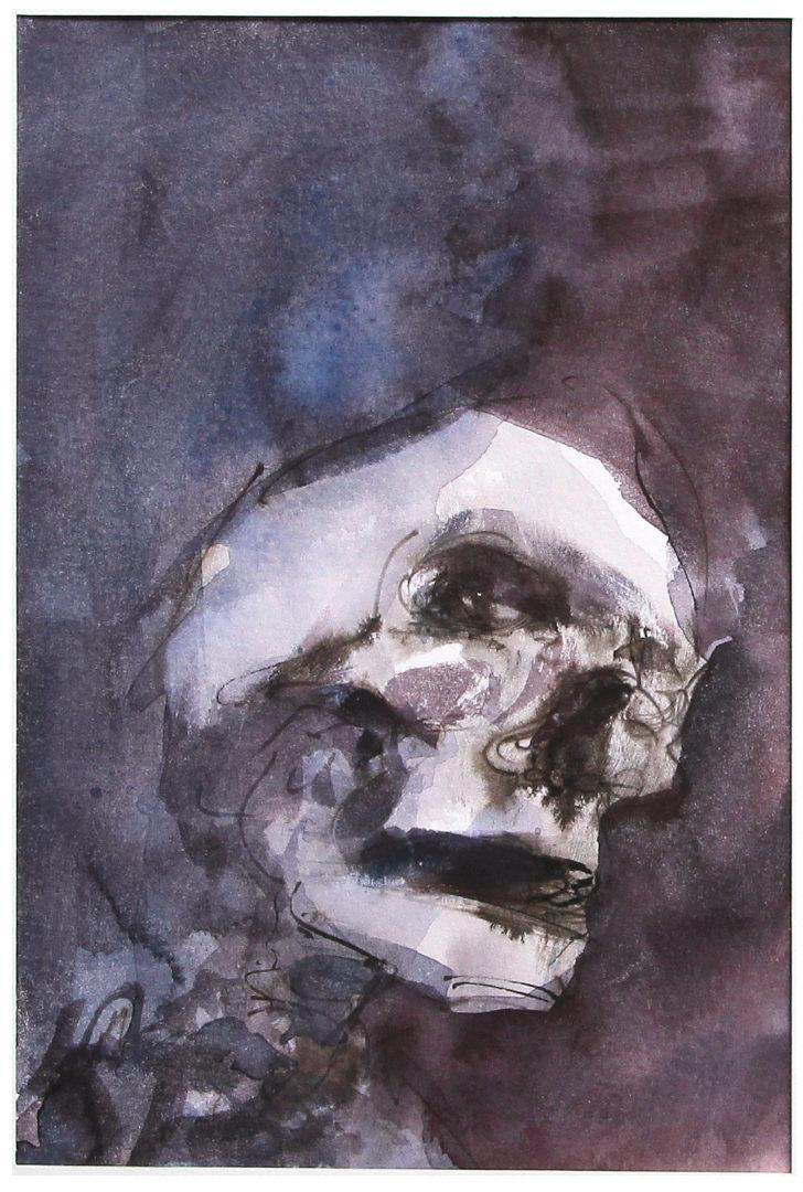 Thomas Löhning, Schädel 4, 14,4x21,3 cm, Tusche und Aquarell