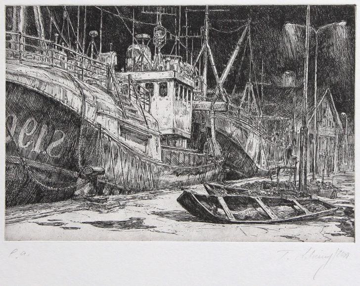 Thomas Löhning, Skagen Hafen, 19,8x13,5 cm, 2000, Radierung