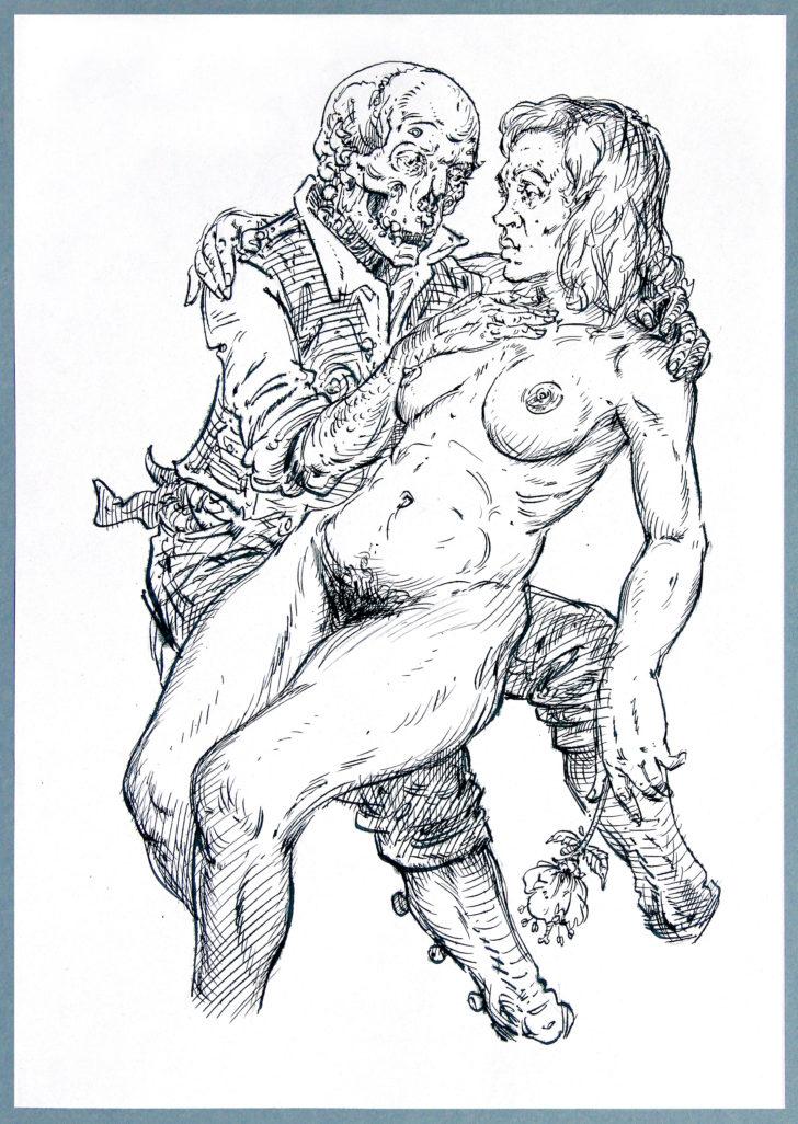 Thomas Löhning, Tod und Mädchen 2, 21x29,7 cm, Federzeichnung und Tusche