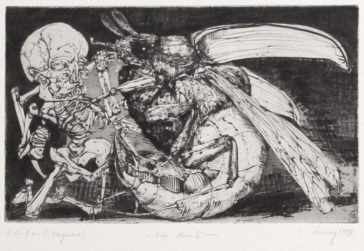 Thomas Löhning, Wer denn? Zu C. Morgenstern, 23,4x14,5 cm, 1997, Radierung