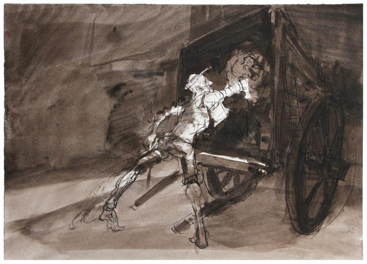 Thomas Löhning, Zu Don Quijote, 41,9x29,7 cm, Tuschezeichnung