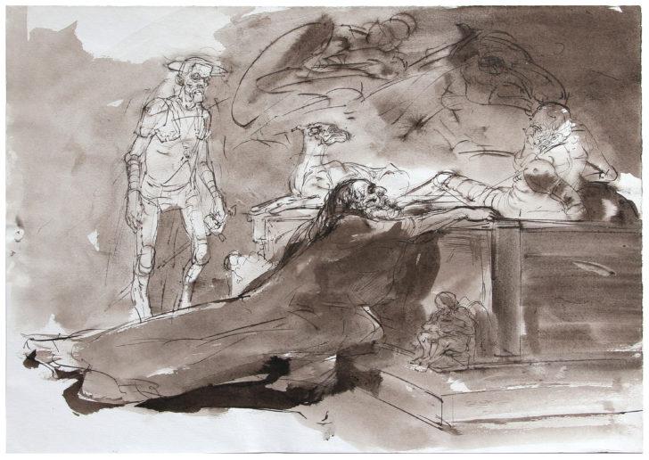 Thomas Löhning, Zu Don Quijote, 41,5x29,7 cm, Tuschezeichnung