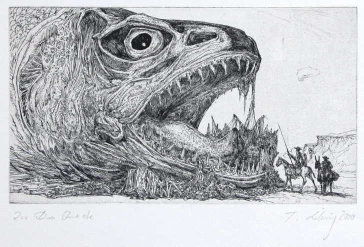 Thomas Löhning, Don Quixote Fisch, 12,7x22,4 cm, 2000, Radierung