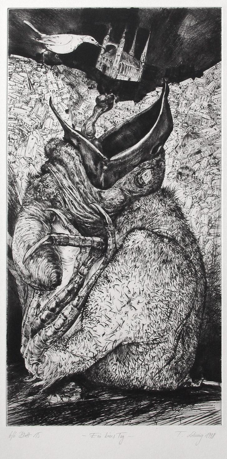 Thomas Löhning, Ein böser Tag, 20,7x39,9 cm, 1998, Radierung