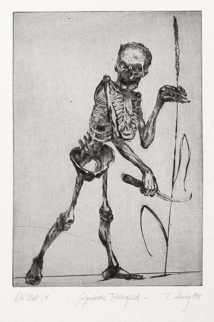 Thomas Löhning, Galgenbruders Frühlingslied, 13,1x18,8 cm, 1998, Radierung
