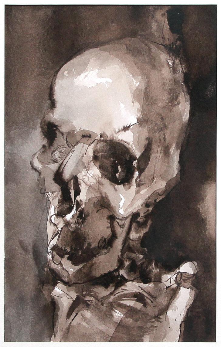 Thomas Löhning, Schädel 3, 13,7x22 cm, Tusche und Aquarell