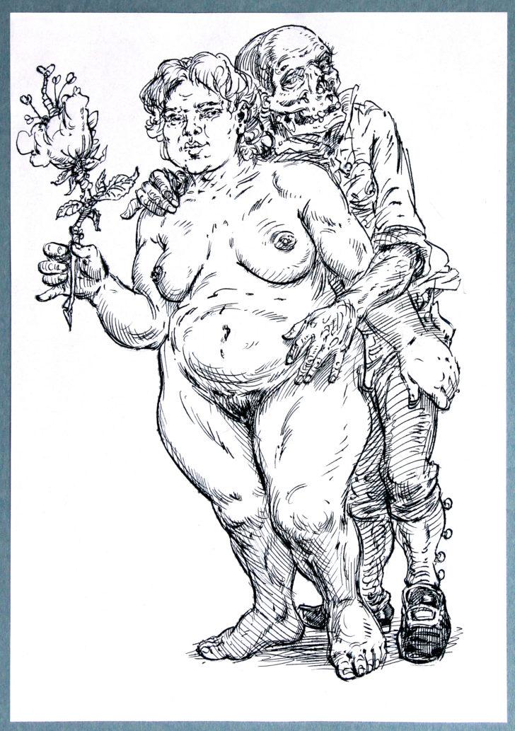 Thomas Löhning, Tod und Mädchen 1, 21x29,7 cm, Federzeichnung und Tusche