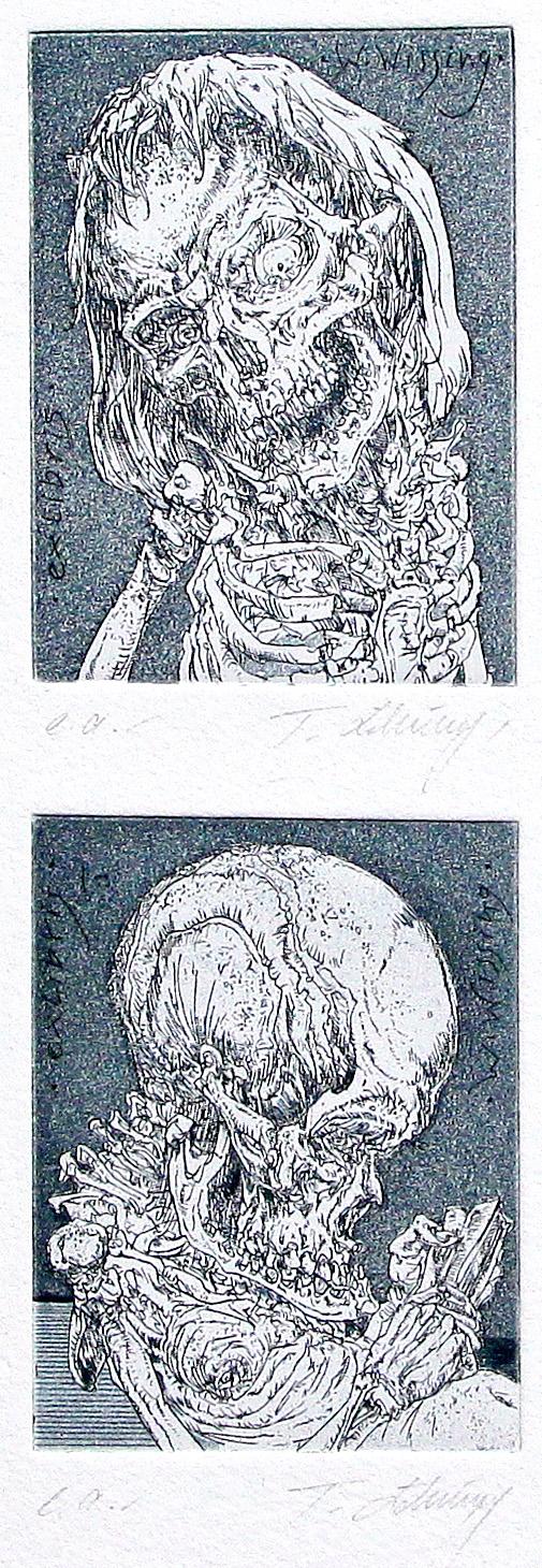 Thomas Löhning, Zwei kleine Schädel. Exlibris, je 5,7x7,6 cm, Radierung