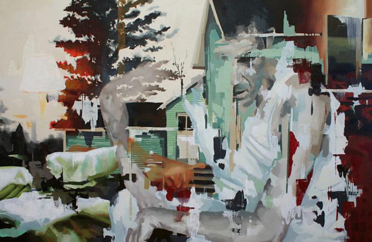 Franz Ehrenberg, Nachbar, 145x220 cm, 2011, Öl auf Leinwand