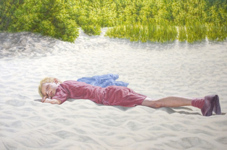 Oliver Pfützenreuter, Boy on the Beach, 100x150 cm, Öl auf Leinwand