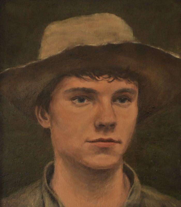 Sebastian Friedrich, Junge mit Hut, 20x20 cm, 2012, Öl auf Holz
