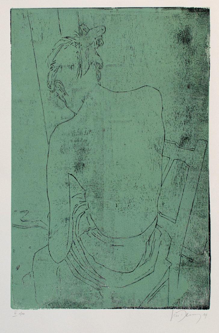 Luise Dewerny, Rücken II, 70x50 cm, 2014, zweifarbiger Holzschnitt