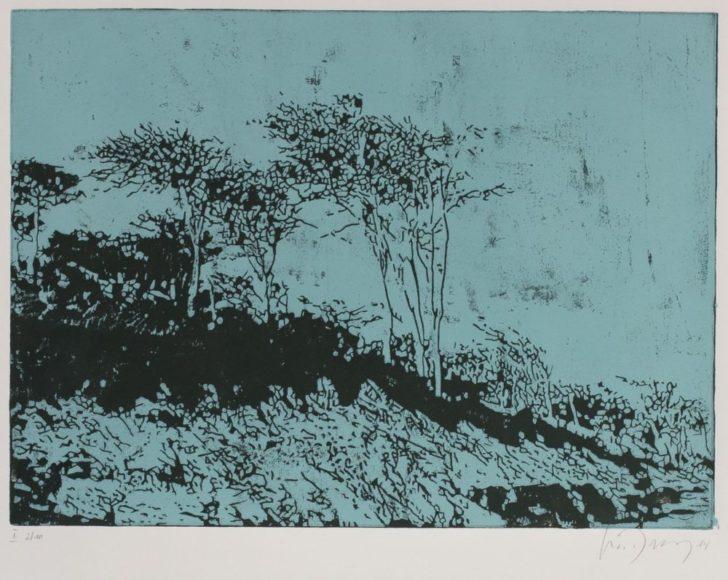 Luise Dewerny, Windflüchter, 50x50 cm, 2014, zweifarbiger Holzschnitt