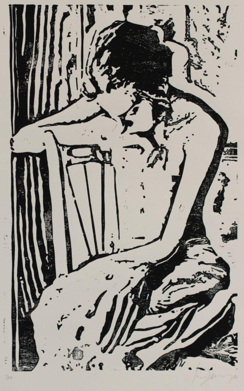 Luise Dewerny, Mädchen (vor dem Vorhang), 70x50 cm, 2012, Holzschnitt