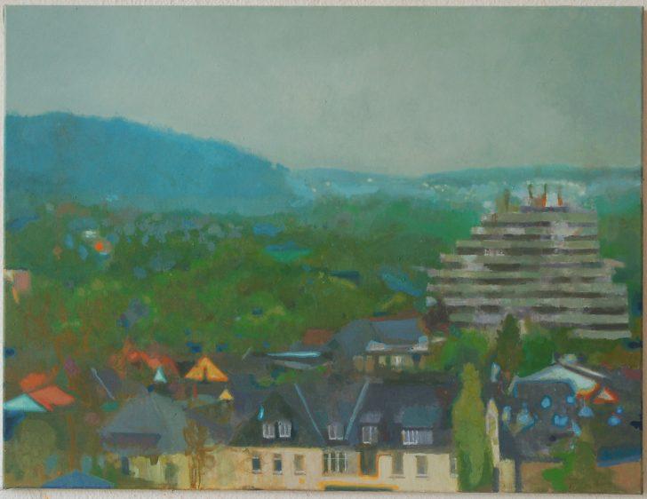 "Jens Wohlrab, Affenfelsen (""Melencoliae""), 110x80 cm, 2013, Öl auf Leinwand"