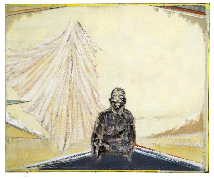 Christofer Kochs, Flügelschlag der Endlichkeit, 50x60 cm, 2015, Öl und Tusche auf gefalteter Leinwand