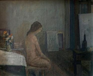 Heinz Müller, Mädchen im Atelier (Ausschnitt), 50x60 cm, 1986, Öl auf Holz
