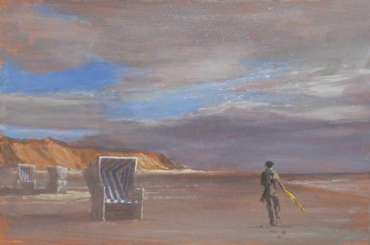 Andreas Wachter, Rotes Kliff, 20x30 cm, 2016, Mischtechnik auf MdF