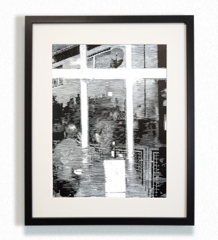 Franz Ehrenberg, 9:45 Uhr, 30x40 cm, 2016, Holzschnitt