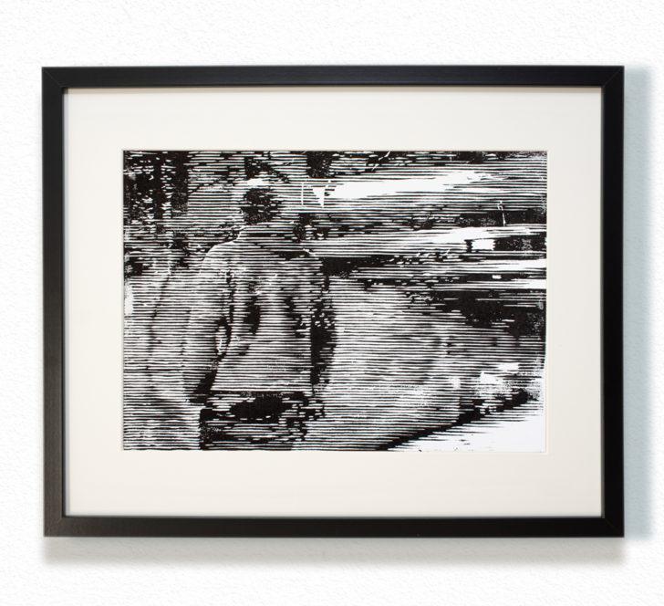 Franz Ehrenberg, Gleis 2, 30x22,5 cm, 2016, Holzschnitt