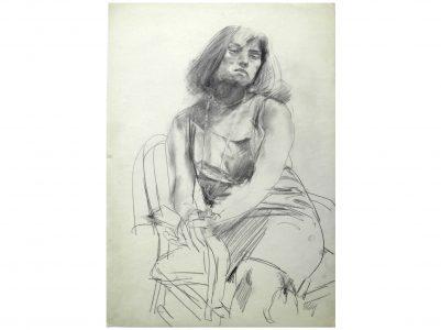 Bernhard Heisig, Porträt Gudrun Brüne, 40x30 cm, 1960er Jahre, Graphit auf Papier