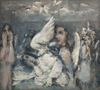 Rolf Haendler, Beschneidung der Engel, 1987, Oel auf Leinwand